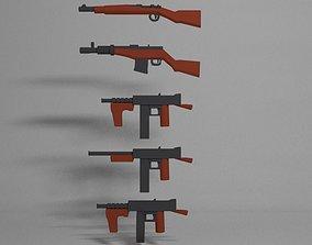 3D model Low Poly Guns