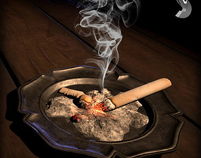 3D asset WWI ashtray with cigarette