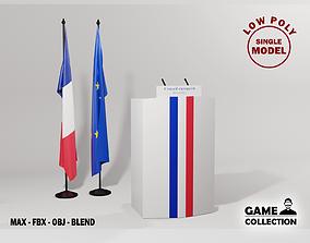 France Presidential podium 3D asset