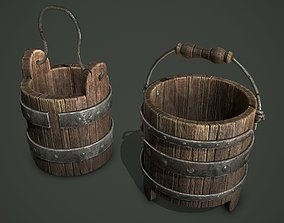 wood bucket 3D asset game-ready
