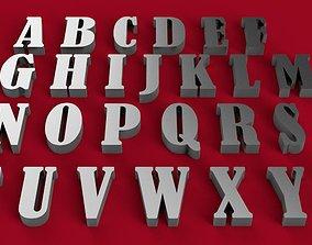 BERNARD font uppercase and lowercase 3D letters STL file