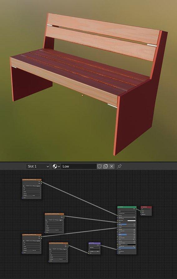 Park Bench 8 Oak Red Metal Frame 2