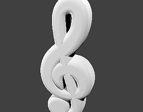 Music notation treble clef 3D model