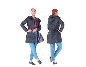 Redhead woman in a black jacket with a bag 98 3D asset