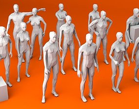 3D model 13 Standing People MInimalist