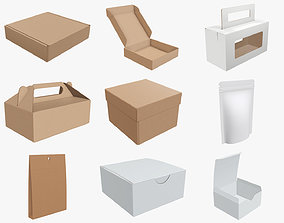 3D model Cardboard corrugated boxes paper bag food pouch