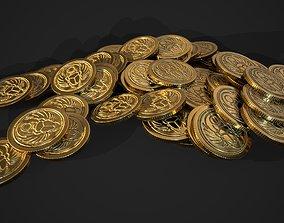 3D asset realtime gold coin - scarab design A