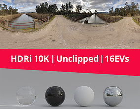 3D HDRi Landscape River and Clouds
