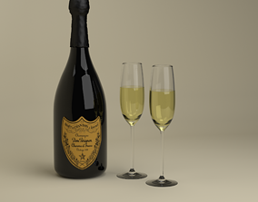 3D Champagne Dom Perignon Charme Vintage 1979 and