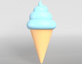 3D asset Ice cream cone v1 006