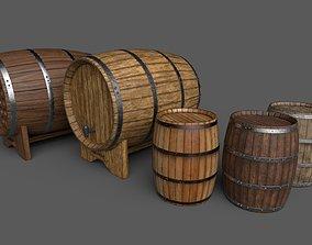 3D asset Old Decorative Wine Barrels PBR