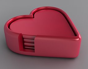 Heart Drinks Coaster Set 3D print model