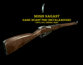 Mosin Nagant Rifle scratched 3D asset low-poly