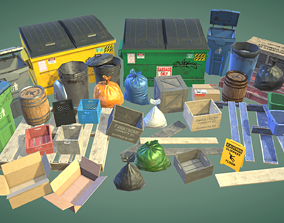 3D model Garbage bins and crates and other