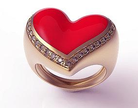 3D printable model Ring Heart Red Enamel