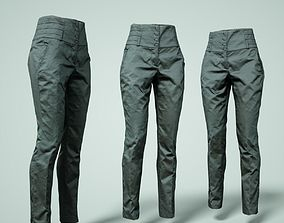 Black Trousers High Waist 3D model game-ready