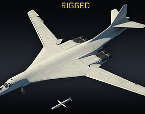 3D model Tu-160 supersonic bomber RIGGED with Kh-55 1