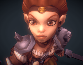 Low Poly Mini Barbarian Girl Sonya 3D model animated