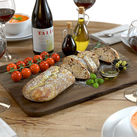 Food set with wine, bread and tomato soup