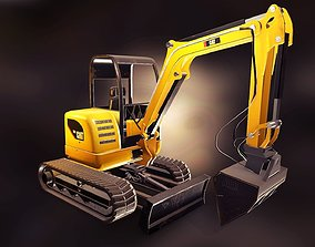 low-poly Excavator mixed model PBR