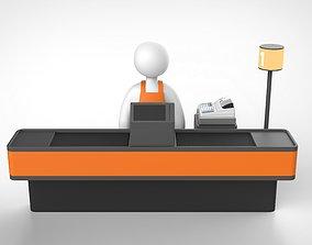 Cash register of super market 3D model