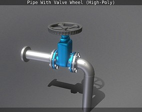 3D model Pipe With Valve Wheel High-Poly