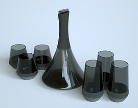 Black Carafe and Glass 3D