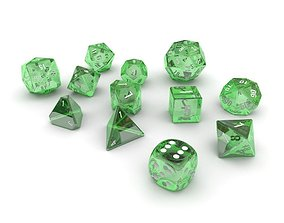 3D model Polyhedral Dice Set - Green Glass