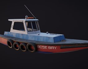3D model low-poly Old Harbour Boat game-ready asset