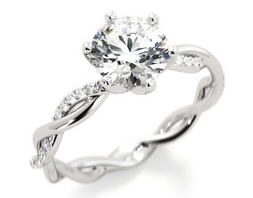 3D print model Twist engagement ring with round center 1
