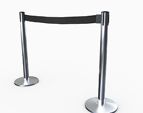 3D Airport Stanchions Metal Short