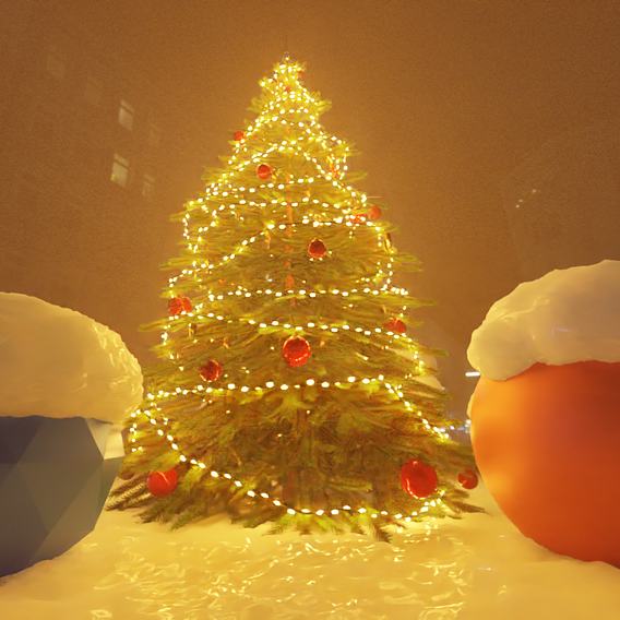 Low-Poly Indoor Christmas Tree Version 2 (Blender-2.91 Cycles Render)