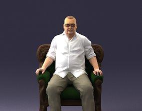 Elderly man sitting in a chair 0269 3D Print Ready