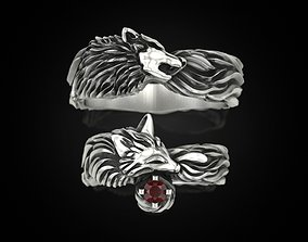 3D Wolf Fox band Wedding ring Set