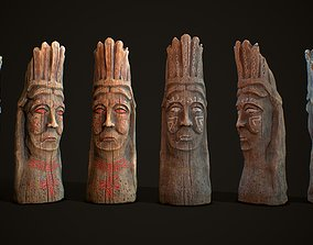 Totem wood 8 pbr 4k 3D model