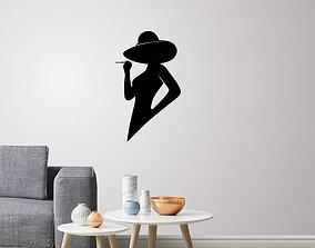 Silhouette lady profile wall Art 3D print model