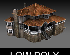 Old Luxury House low poly 3D model low-poly