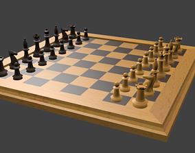 Chess set 3D asset VR / AR ready