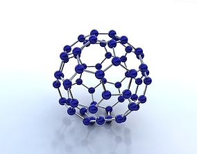 Buckminsterfullerene molecule 3D model