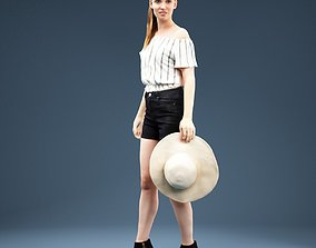 Girl wearing Blouse Short holding Hat 3D asset