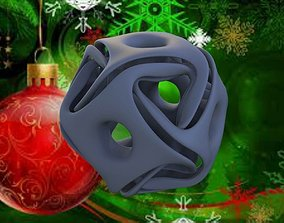 X-MAS CUBE TWISTED WITH HOLE CERAMICS 3D print model