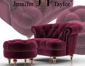 3D model La Rosa Tufted Accent Armchair with Ottoman