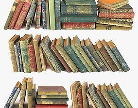 3D old books on a shelf set 1