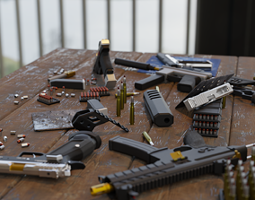 Collection of guns and SMGs 3D rigged