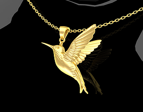 Hummingbird Single Pendant Jewelry Gold 3D printable model