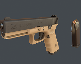 Sand Glock 17 with magazine 3D asset low-poly