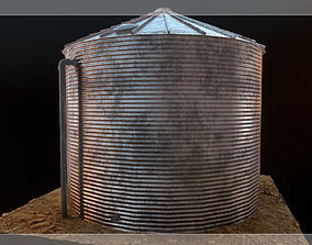 3D model game-ready Low Poly Water Storage Tank PBR