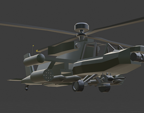 3D asset Ah-64 With Ringing animation