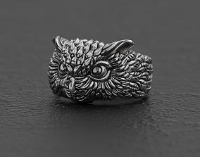 rings Horned owl ring 3D print model