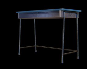 3D model School-desk dark blue